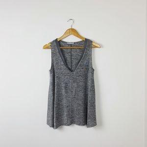 2/$25 Zara Gray V-Neck Sleeveless Top